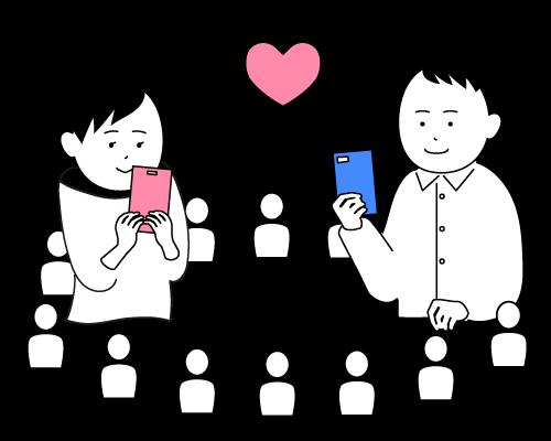 婚活アプリでマッチングする男女